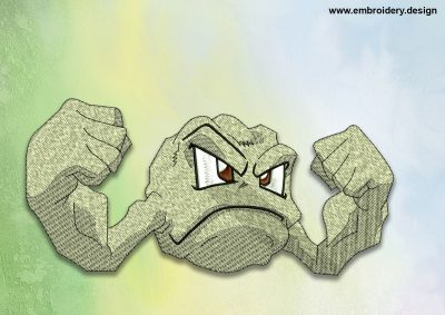 The embroidery design Geodude Pokemon