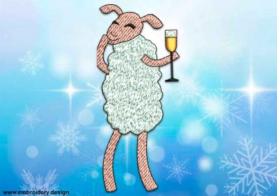 This Giggling sheep design was digitized and embroidered by www.embroidery.design.