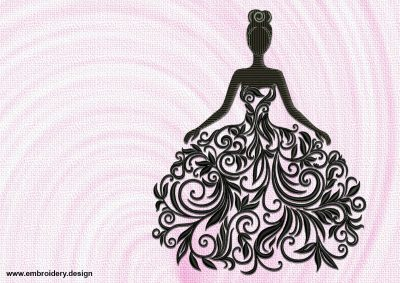 The embroidery design Girl in a floral dress is perfect for decorating of apparel