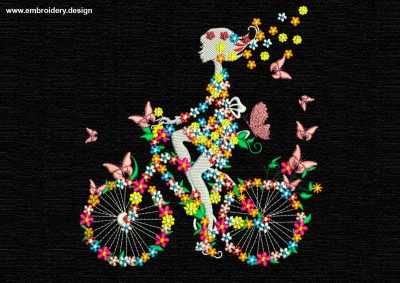 This Girl's silhouette on flowering bike design was digitized and embroidered by www.embroidery.design.