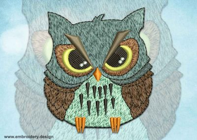 This Gloomy owl design was digitized and embroidered by www.embroidery.design.