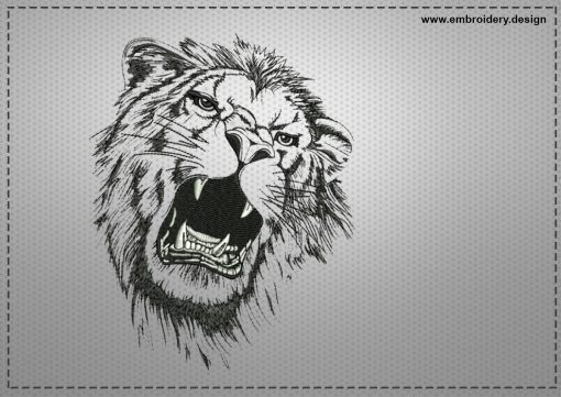 The embroidery design Gnarling lion