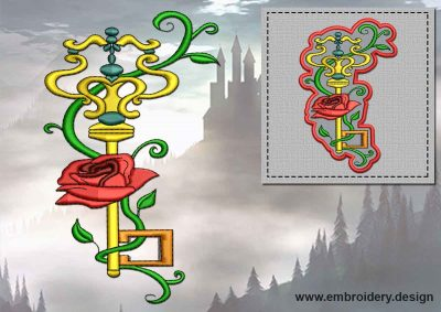 This Gold key with rose + embroidery design of patch design was digitized and embroidered by www.embroidery.design.