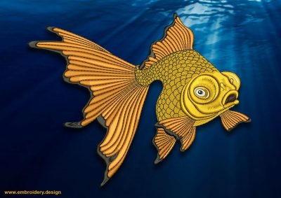 This Golden fish design was digitized and embroidered by www.embroidery.design.
