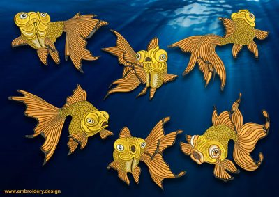 This Goldfish embroidery designs pack design was digitized and embroidered by www.embroidery.design.