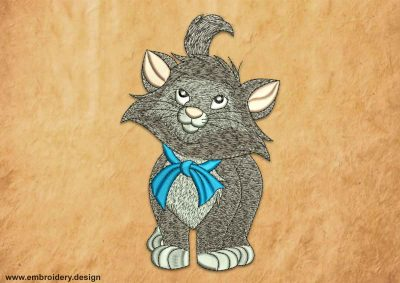 This Gray cat with bow design was digitized and embroidered by www.embroidery.design.