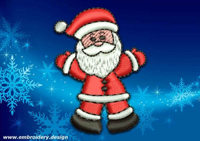 This Greeting Santa Claus design was digitized and embroidered by www.embroidery.design.