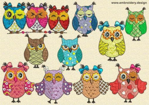 This Groovy owls pack #4 design was digitized and embroidered by www.embroidery.design.