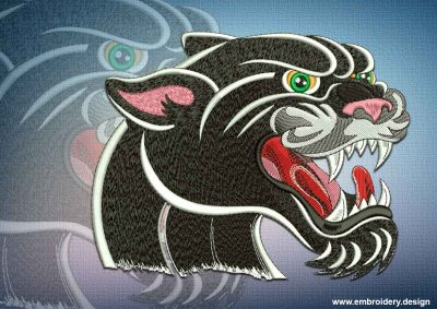 This Growling panther design was digitized and embroidered by www.embroidery.design.