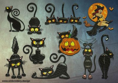 This Halloween Black Cats pack design was digitized and embroidered by www.embroidery.design.