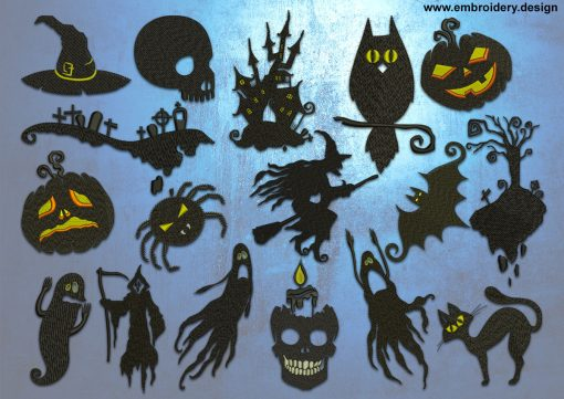This Halloween embroidery designs' pack design was digitized and embroidered by www.embroidery.design.