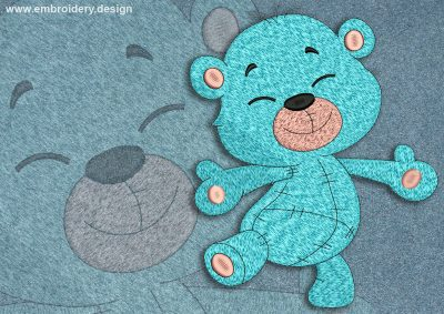 This Happy bear cub design was digitized and embroidered by www.embroidery.design.