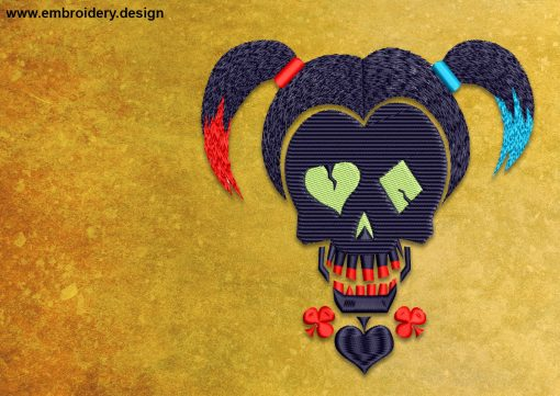 The embroidery design Harley Quinn from the Suicide Squad