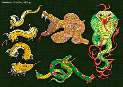 This Hazardous snakes' pack design was digitized and embroidered by www.embroidery.design.