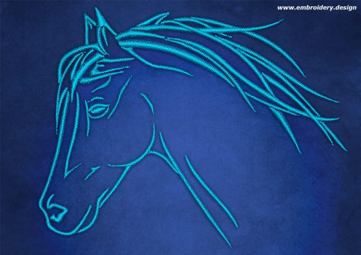 This Head of horse design was digitized and embroidered by www.embroidery.design.