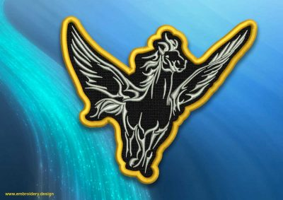 The embroidery design Honorable flying pegasus patch