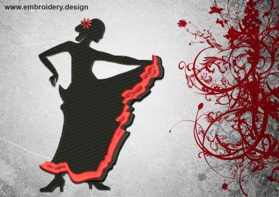 This Hot Flamenco design was digitized and embroidered by www.embroidery.design.