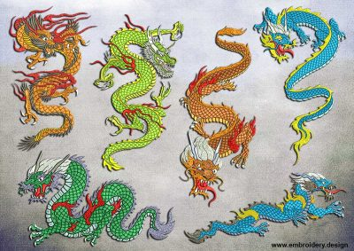 This Incredible dragons' pack design was digitized and embroidered by www.embroidery.design.
