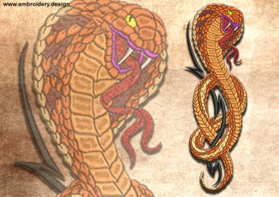 This Insidious Egyptian Cobra design was digitized and embroidered by www.embroidery.design.