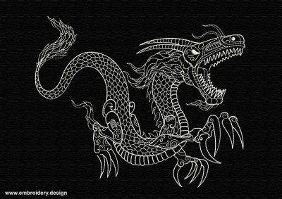 This Irate dragon design was digitized and embroidered by www.embroidery.design.