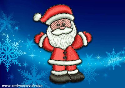 This Joyful Santa Claus design was digitized and embroidered by www.embroidery.design.