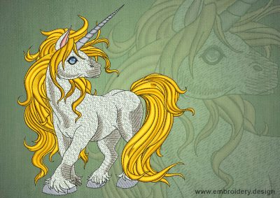 This Juvenile unicorn design was digitized and embroidered by www.embroidery.design.