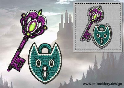 This Key & Lock + embroidery design of patch design was digitized and embroidered by www.embroidery.design.