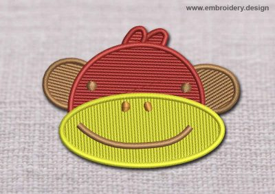 This Kids Patch Monkeys Muzzle design was digitized and embroidered by www.embroidery.design.