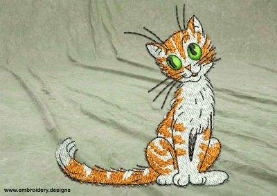 This Kind kitten design was digitized and embroidered by www.embroidery.design.