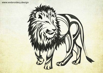 This Kind lion design was digitized and embroidered by www.embroidery.design.