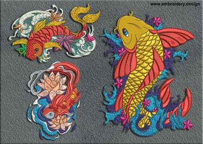 This Koi Carps on the waves embroidery designs pack design was digitized and embroidered by www.embroidery.design.