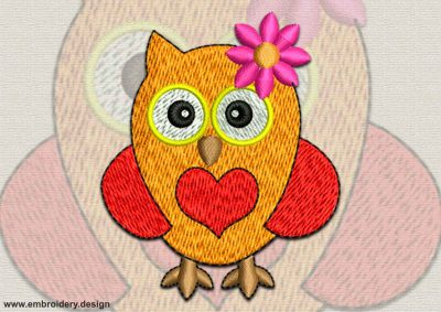 This Lady owl with a heart design was digitized and embroidered by www.embroidery.design.