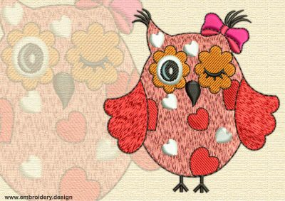 This Lady owl with hearts design was digitized and embroidered by www.embroidery.design.