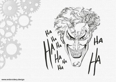 The embroidery design Laughing joker Ha-Ha
