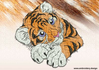 This Laying tiger cub design was digitized and embroidered by www.embroidery.design.