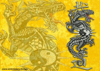 This Legendary East Dragon Yin Yang design was digitized and embroidered by www.embroidery.design.