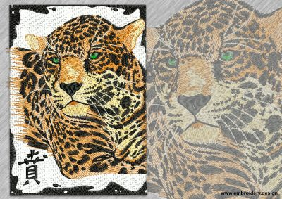 This Leopard with hieroglyph design was digitized and embroidered by www.embroidery.design.
