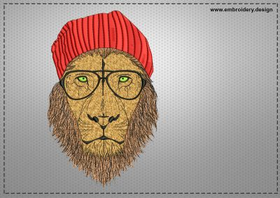 The embroidery design Lion in glasses