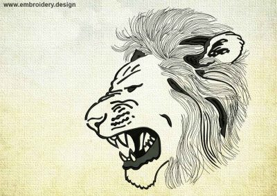 This Lion in rage design was digitized and embroidered by www.embroidery.design.