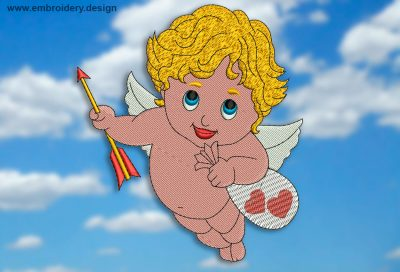 This Little Cupid design was digitized and embroidered by www.embroidery.design.
