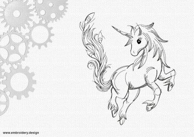 The embroidery design Little cute unicorn