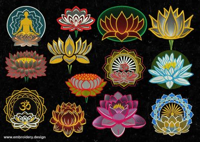 The pack of embroidery design Lotuses