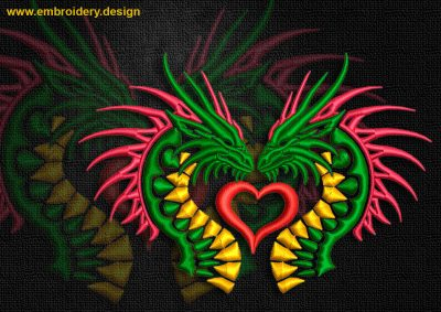 This Love of celtic dragons design was digitized and embroidered by www.embroidery.design.