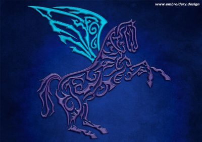 This Magic horse design was digitized and embroidered by www.embroidery.design.
