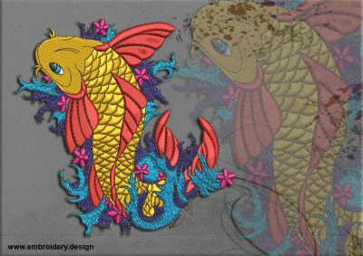This Magical carp design was digitized and embroidered by www.embroidery.design.