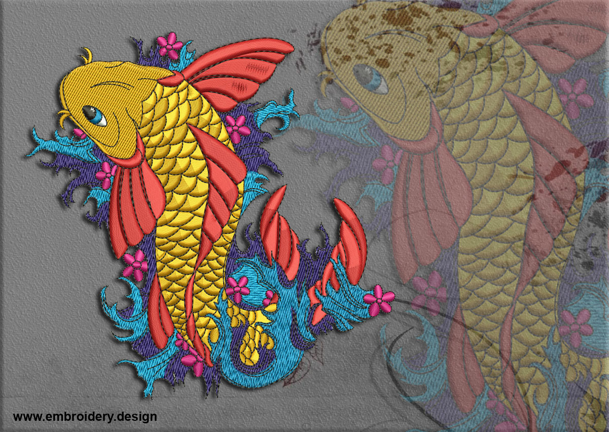 Koi carps on the waves embroidery designs pack collection of