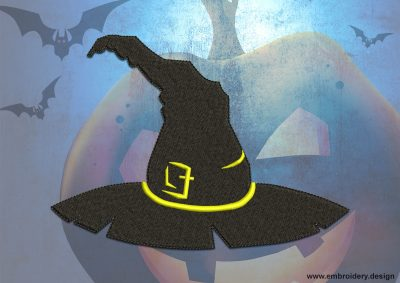This Magical hat design was digitized and embroidered by www.embroidery.design.