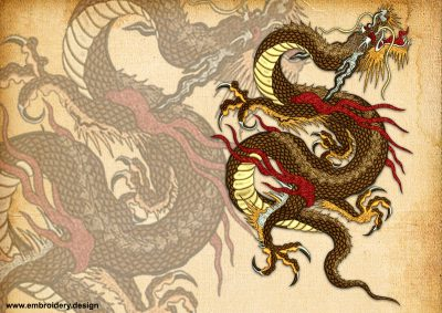 This Majestic brown dragon design was digitized and embroidered by www.embroidery.design.