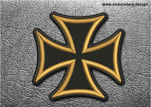 This Biker Patch Black and Yellow Maltese Cross design was digitized and embroidered by www.embroidery.design.