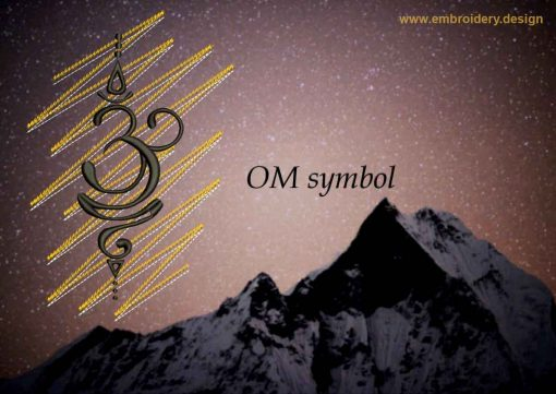 This Mantra OM on gold background design was digitized and embroidered by www.embroidery.design.